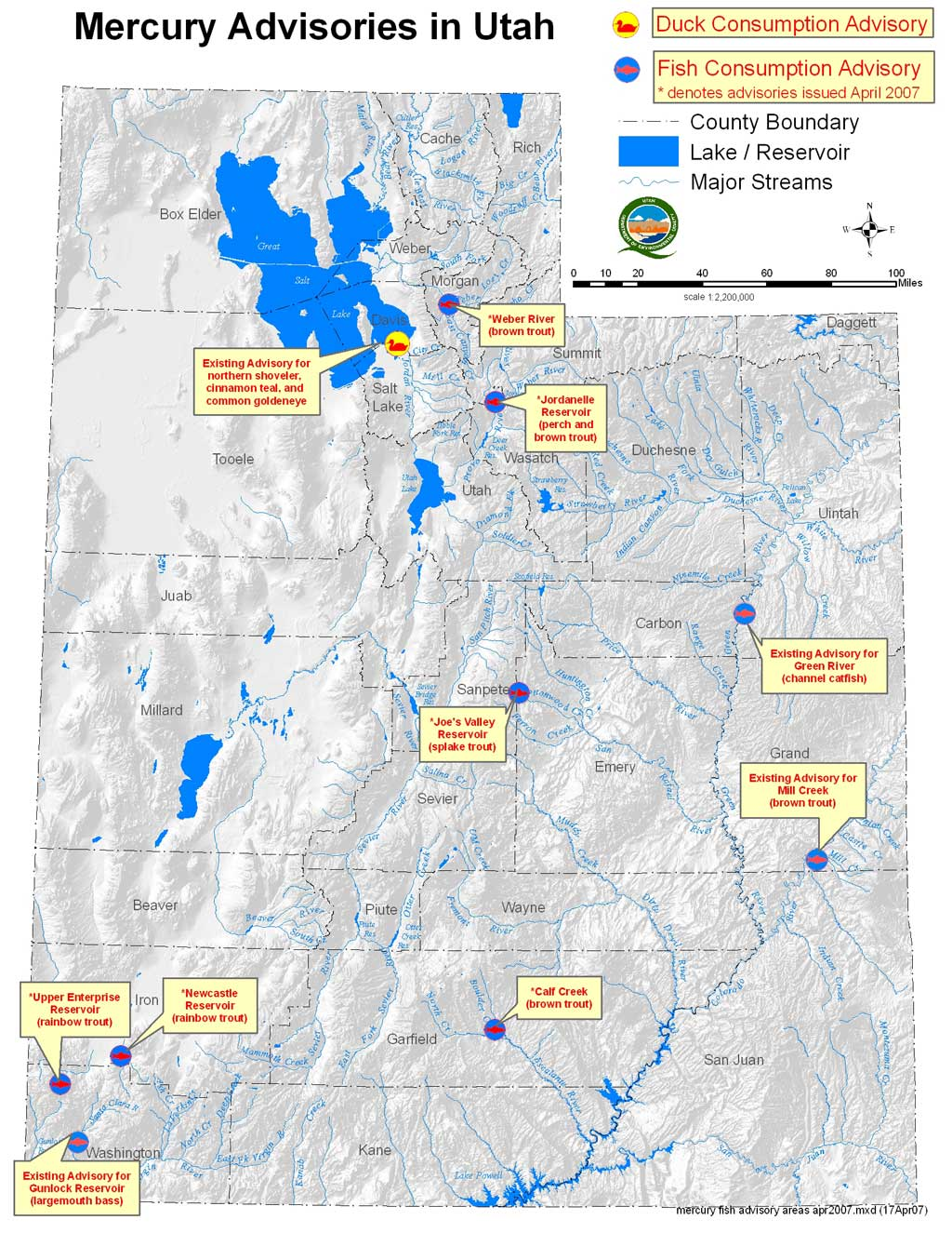 Fish advisories issued for six waterways across the state for Weber river fishing report